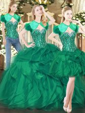 Elegant Dark Green Tulle Lace Up Sweetheart Sleeveless Floor Length Quinceanera Dress Beading and Ruffles