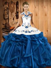 Blue Ball Gowns Embroidery and Ruffles Quinceanera Gowns Lace Up Satin and Organza Sleeveless Floor Length