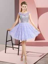 Sumptuous Lavender Cap Sleeves Lace Backless Prom Dresses for Prom and Party
