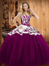 Fuchsia Quinceanera Gown Military Ball and Sweet 16 and Quinceanera with Embroidery Sweetheart Sleeveless Lace Up