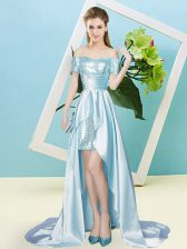 Light Blue Short Sleeves High Low Sequins Lace Up Homecoming Dress