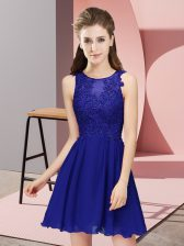Exquisite Chiffon Scoop Sleeveless Zipper Appliques Damas Dress in Royal Blue