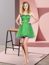 Comfortable Tulle Sleeveless Mini Length Damas Dress and Beading and Sequins