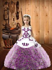 Excellent Sleeveless Lace Up Floor Length Beading Little Girl Pageant Dress