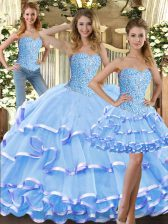 Great Baby Blue Ball Gowns Beading and Ruffled Layers Sweet 16 Quinceanera Dress Lace Up Tulle Sleeveless Floor Length
