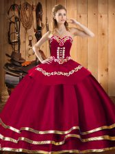 Sweetheart Sleeveless Quinceanera Dress Floor Length Embroidery Red Organza