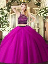 Fancy Beading and Ruching Sweet 16 Dresses Fuchsia Zipper Sleeveless Floor Length