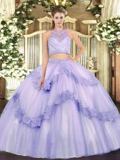 Excellent Lavender Sleeveless Tulle Zipper Vestidos de Quinceanera for Military Ball and Sweet 16 and Quinceanera