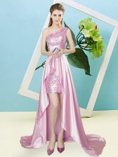 Gorgeous Rose Pink Empire One Shoulder Sleeveless Elastic Woven Satin and Sequined High Low Lace Up Sequins Prom Dress