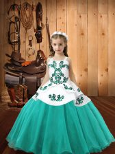 Aqua Blue Organza Lace Up Straps Sleeveless Floor Length Pageant Dresses Embroidery