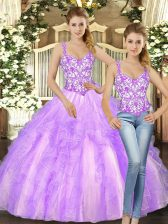Low Price Ball Gowns Quinceanera Dress Lilac Straps Organza Sleeveless Floor Length Lace Up