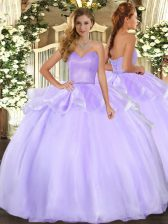 Enchanting Lavender Organza Lace Up Sweetheart Sleeveless Floor Length Ball Gown Prom Dress Beading and Ruffles