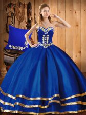 New Arrival Blue Ball Gowns Sweetheart Sleeveless Organza Floor Length Lace Up Embroidery Quinceanera Dresses