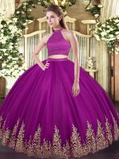 Best Fuchsia Sleeveless Beading and Appliques Floor Length Quinceanera Dresses
