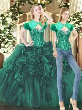 Charming Tulle Sweetheart Sleeveless Lace Up Beading and Ruffles 15 Quinceanera Dress in Dark Green