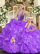 Sleeveless Organza Floor Length Lace Up Vestidos de Quinceanera in Eggplant Purple with Beading and Ruffles