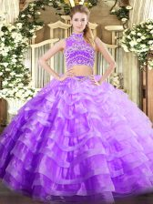 Lavender High-neck Backless Beading and Ruffled Layers Sweet 16 Dress Sleeveless
