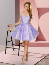 Free and Easy Lavender Zipper Off The Shoulder Appliques Quinceanera Court Dresses Tulle Sleeveless