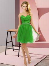 Green Tulle Zipper Prom Party Dress Sleeveless Mini Length Beading