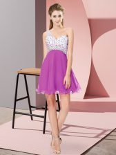 Adorable Fuchsia Prom Evening Gown Prom and Party with Beading One Shoulder Sleeveless Criss Cross