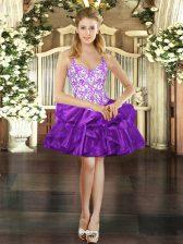 Purple Organza Lace Up Evening Dress Sleeveless Mini Length Beading and Ruffles