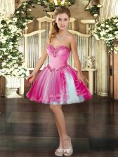 Traditional Hot Pink Sleeveless Mini Length Beading Lace Up Prom Party Dress