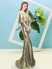 Yellow Prom Dresses Prom and Party with Sequins Off The Shoulder Half Sleeves Zipper