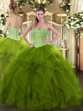 Olive Green 15th Birthday Dress Military Ball and Sweet 16 and Quinceanera with Beading and Ruffles Sweetheart Sleeveless Lace Up