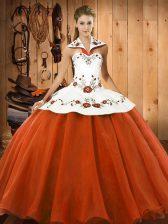 Orange Red Sleeveless Embroidery Floor Length Quinceanera Dress