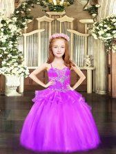 Ball Gowns Little Girls Pageant Dress Wholesale Lilac Spaghetti Straps Organza Sleeveless Floor Length Lace Up