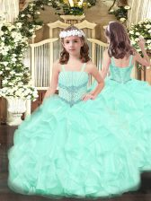 Nice Apple Green Ball Gowns Straps Sleeveless Organza Floor Length Lace Up Beading and Ruffles Pageant Dress for Teens