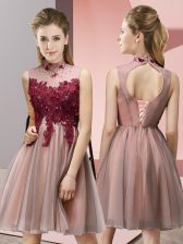 Peach High-neck Neckline Appliques Quinceanera Court of Honor Dress Sleeveless Lace Up