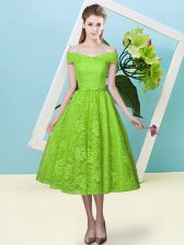 Yellow Green Off The Shoulder Neckline Bowknot Quinceanera Court Dresses Cap Sleeves Lace Up