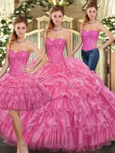 Fashion Rose Pink Lace Up Sweetheart Beading and Ruffles Quince Ball Gowns Organza Sleeveless