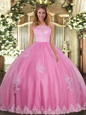 Romantic Rose Pink Ball Gowns Tulle Scoop Sleeveless Lace and Appliques Floor Length Clasp Handle Quinceanera Gowns