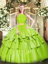 Yellow Green Two Pieces Tulle Scoop Sleeveless Ruffled Layers Floor Length Zipper Sweet 16 Dress