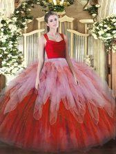 Noble Multi-color Organza Zipper Straps Sleeveless Floor Length Sweet 16 Dress Ruffles