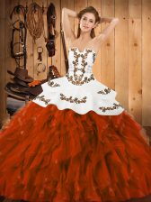 Satin and Organza Strapless Sleeveless Lace Up Embroidery and Ruffles Quinceanera Dress in Rust Red