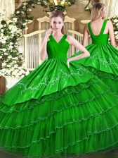 Ideal Floor Length Zipper Quince Ball Gowns Green for Military Ball and Sweet 16 and Quinceanera with Embroidery and Ruffled Layers