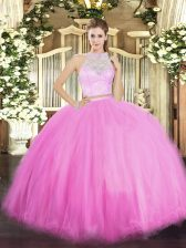 Customized Scoop Sleeveless 15th Birthday Dress Floor Length Lace Rose Pink Tulle
