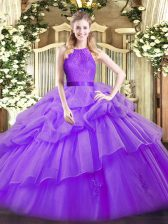 Amazing Sleeveless Organza Floor Length Zipper Sweet 16 Dress in Eggplant Purple with Lace and Ruffled Layers