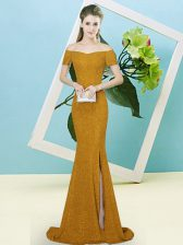 Latest Brown Mermaid Sequined Off The Shoulder Short Sleeves Sequins Zipper Prom Gown Sweep Train
