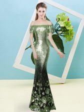 Exquisite Yellow Green Off The Shoulder Neckline Sequins Prom Evening Gown Short Sleeves Zipper