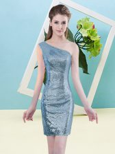 High Quality Baby Blue Column/Sheath One Shoulder Sleeveless Sequined Mini Length Zipper Sequins Homecoming Dress