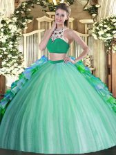 Multi-color Vestidos de Quinceanera Military Ball and Sweet 16 and Quinceanera with Beading and Ruffles High-neck Sleeveless Backless