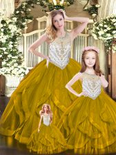 Floor Length Lace Up Sweet 16 Dresses Brown for Military Ball and Sweet 16 and Quinceanera with Beading and Ruffles
