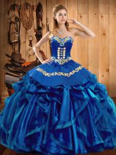 Sleeveless Embroidery and Ruffles Lace Up Quinceanera Dress