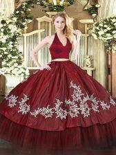 Colorful Floor Length Burgundy Ball Gown Prom Dress Taffeta Sleeveless Appliques