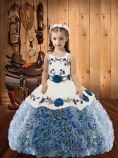 Floor Length Lace Up Girls Pageant Dresses Multi-color for Sweet 16 and Quinceanera with Embroidery and Ruffles