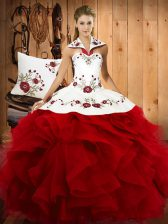 Elegant Embroidery and Ruffles Quinceanera Gown Wine Red Lace Up Sleeveless Floor Length